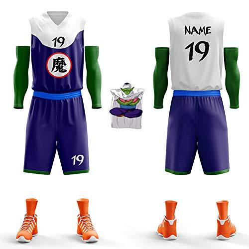 WWJIE Dragon Ball, Uniforme de Baloncesto Personalizado, Personalidad, Chaleco de Baloncesto, competición, Camiseta Personalizada (Cinco Sets)-XXXXXL