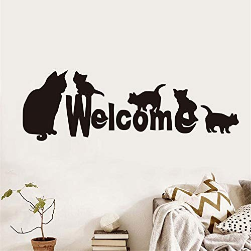 128x42cm Creative Welcome Cat Family Wall Sticker For Living Room Door Decoration Vinyl Removable Wallpaper Wall Decals Home Decor