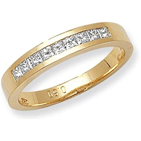 Con diamante taglio Princess 10Pietra Canale Anello 18ct G/H SI20,50ct