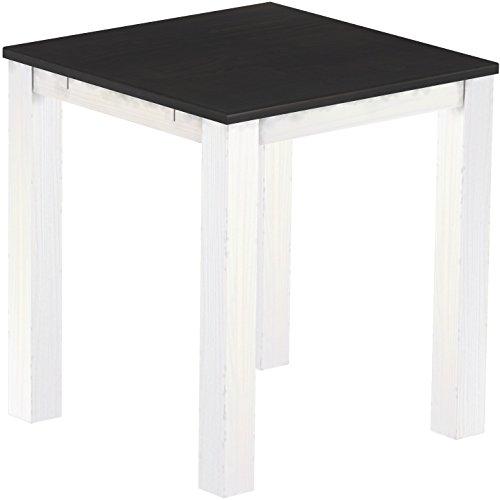 Brasil Meubles Haut 'Rio Classico' Table 120 x 120 cm, Pin Massif, Coloris ébène – Blanc