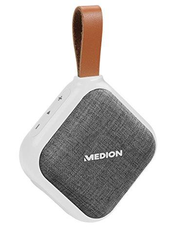 MEDION Life E65242 Bluetooth Lautsprecher (Bluetooth 4.1, Freisprechfunktion, Strahlwasserschutz IPX5, 30 Watt, Akku) weiß