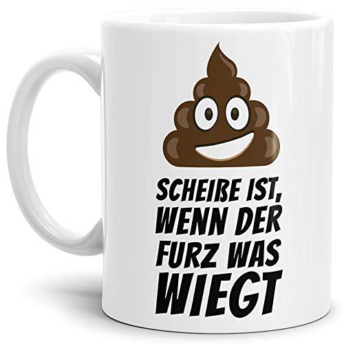 Tassendruck Tasse -Kackhaufen- mit Spruch: Scheisse ist Wenn der Furz was Wiegt - Weiss -/Smiley/Shit/Kacke/Lustig/Witzig/Spaßig/Mug/Cup/Beste Qualität - 25 Jahre Erfahrung