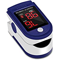 Fingertip Pulse Oximeter Blood Oxygen Saturation Monitor with LED Display Used to Measure SpO2 and Pulse Rate for Adult, Children Community Health Center Sports Hospital Home(Include Carrycase, Lanyard) (Blue)