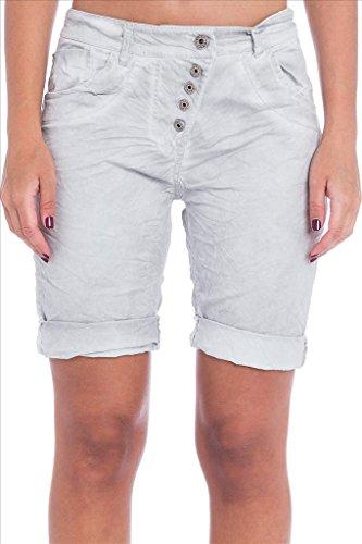 Abbino 319 Shorts Femmes - Fabriqué en Italie - 4 Couleurs - Printemps Été Automne Plage Casual Sexy Elegant Vintage Classique Dentelle Imprimé Chic Promotion Nuit Voyage Confortable Gris