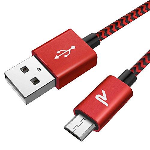 Rampow Micro USB Ladekabel, 2M/ 1-Stück, mit Nylon geflochtenes Micro USB Schnellladekal für Android Smartphones, Samsung Galaxy, HTC, Huawei, Sony, Nexus, Nokia, Kindle und mehr - Rot