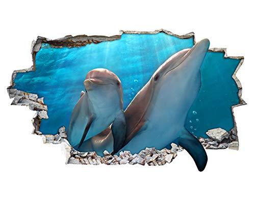 tekkdesigns H041Delfine Ozean Wasser zerstörten Wand Aufkleber 3D Poster Art Aufkleber Vinyl Zimmer (Medium (52x 30cm))