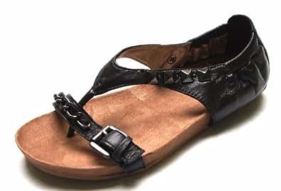 spm damen leder sandalen schwarze zehentrenner ka 1413401 sale schuhe. Black Bedroom Furniture Sets. Home Design Ideas