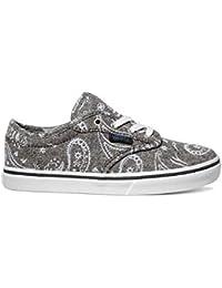 VANS - Zapato de cordones gris, con una parte superior de denim estampado, ojales de metal, logo lateral, Unisex Niños