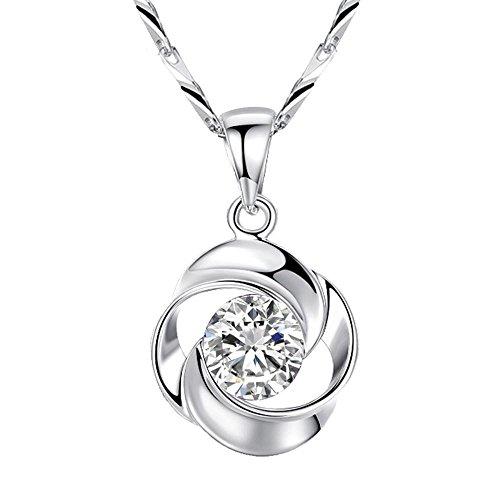 Haixin S925 argent Sterling Zircon ornements Valentin cadeau Collier coeur huit huit flèches rose pendentif collier longueur 40 cm + 5 cm (réglable)