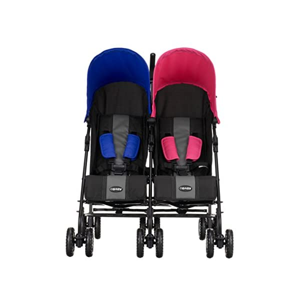Obaby Apollo Twin Stroller - Pink/Blue Obaby Suitable from birth to a maximum weight of 15kg Independently adjustable multi position seat units Independently adjustable hoods 3