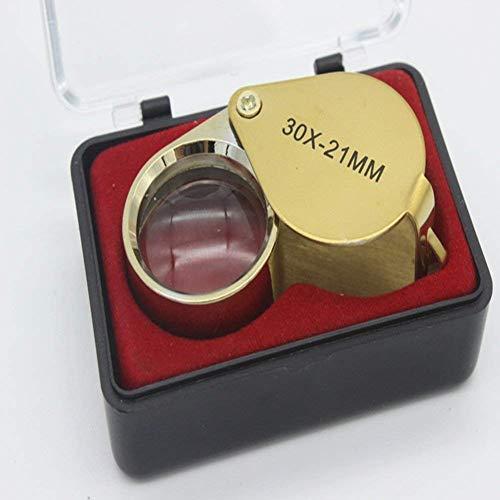 Baixx Falttasche Mini Lupe 30X Hohe Vergrößerung Metall Edelstahl, Schmuck Silber Dollar Identifizierung Schmuck Münzen Inspektion Wartung Lupe 20 Mm Gold