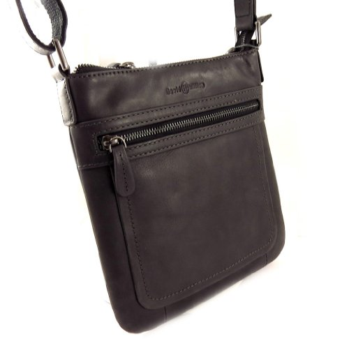 Francinel [L0992] - Sac cuir 'David William' noir vintage