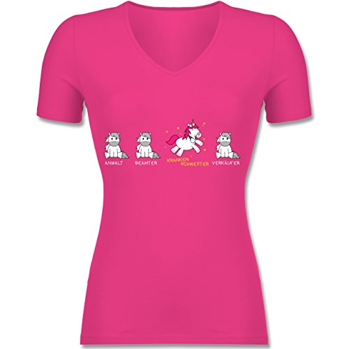 Shirtracer Sonstige Berufe - Krankenschwester Einhorn - Tailliertes T-Shirt mit V-Ausschnitt für Frauen Fuchsia