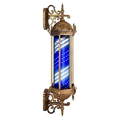 YCOMMODITYD Poste De Peluquería Giratorio E Iluminado para Peluquería Letrero De Salón Poste De Barbero Rayas De Luz LED Lámpara De Pared Retro Save Energy,A