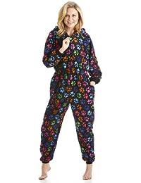 Camille - Combinaison pyjama - motif pattes de chien colorées - femme