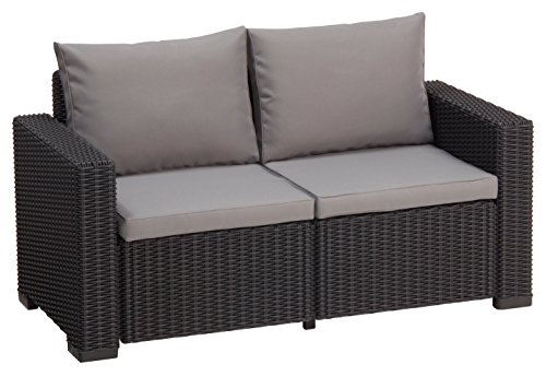 Allibert Lounge Sofa Rattan, Lounge California Sofa, Grau, 2-Sitzer
