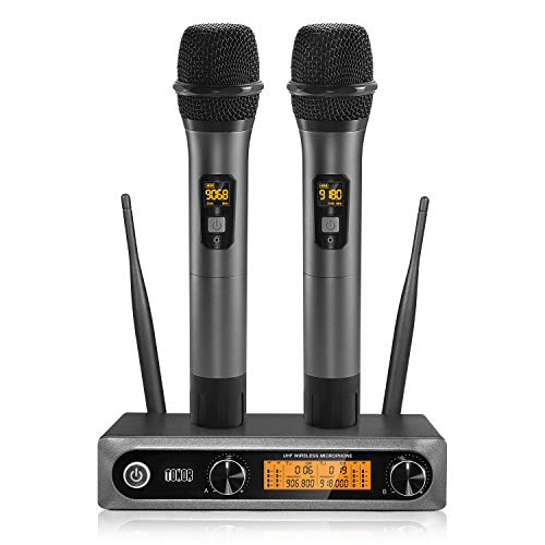 TONOR Doppio Microfono Wireless UHF Sistema Palmare Dinamico Wireless Professionale Mic, Home KTV Set per Karaoke, Party, DJ, Chiesa, Matrimonio, Riunione, Uso di classe, 200ft