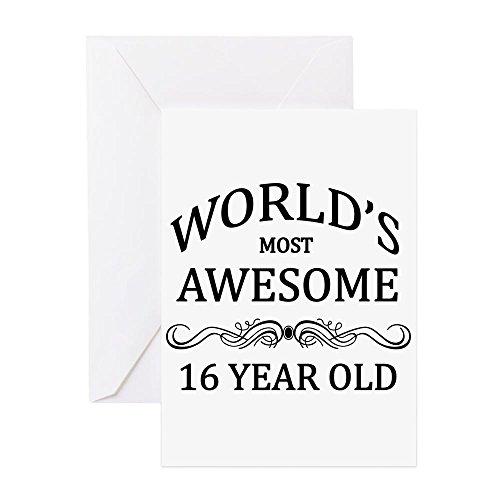 CafePress-World 's Most Awesome 16Jahre alt-Grußkarte, Note Karte, Geburtstagskarte, innen blanko, glänzend