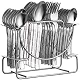 NAOE™ Losange Pack Of-24(6 Tea Spoons,6 Dinner Spoons,6 Baby Spoons 6 Forks And 1 Stand) Cutlery Set From Cork,in Stainless Steel(Silver Colour)