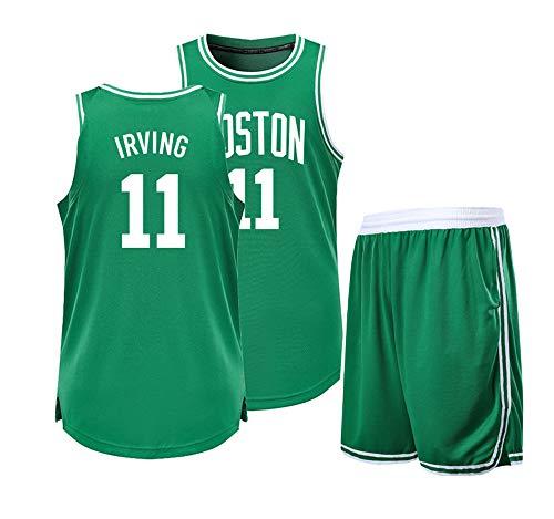 DERTL Ist EIN Geschenk für Kyrie Irving NO.11 Brooklyn Nets Fans Basketball Trikots Freizeitkleidung Oberteile Westen + Shorts Anzüge Studenten Jugendsportkleidung Anzüge für Erwachsene-green-4XL