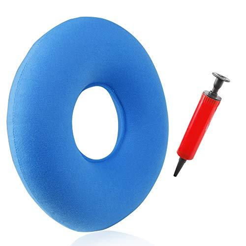 Eastshining Cojín Inflable Redondo con Bomba 35cm Almohada Suave para Hemorroides, Dolor de Coxis, Llagas De Cama, Sillas de Ruedas Embarazadas Uso en Hogar/Oficina/Coche (Azul Cielo)