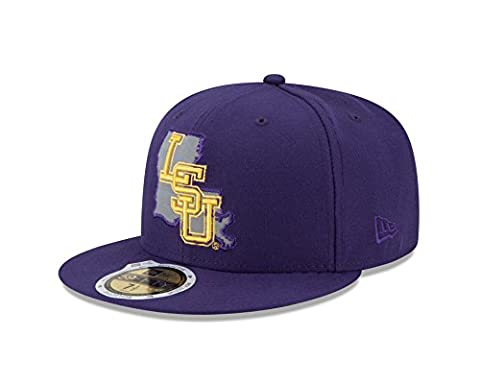 NCAA LSU Tigers State Flective Redux 59FIFTY Fitted Cap, 7.25, Purple