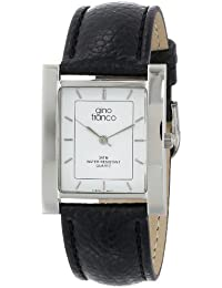 gino franco Men's 924BK Square Stainless Steel Genuine Leather Strap Watch