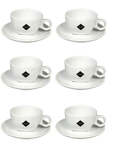 6x 180ml Cappuccino Tazza e piattino set. Lavabile in Lavastoviglie e adatta al microonde, nuovo