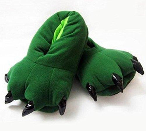 Aivtalk Damen Herren Flannel Schuhe Unisex Winter Hausschuhe Tier Cosplay Kostüme Zubehör Tierkostüme - Grün L für Größe 38-45 Grün