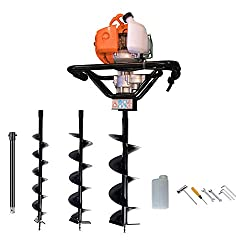 Dirty Pro Tools Petrol Earth Auger 3HP Post Hole Borer Ground Drill with 3 Bits, 4, 6, 8