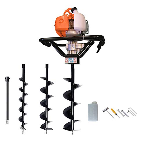 "Dirty Pro Tools Petrol Earth Auger 3HP Post Hole Borer Ground Drill with 3 Bits, 4, 6, 8"" Bits.and EXTENSION BAR included and accessories"