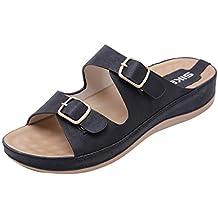 Darringls_Sandalias de Primavera Verano Mujer,Sandalias Moda de señoras Zapatos de cuñas sólidas Hebilla del