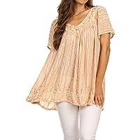 Sakkas Elaine – maglia larga a stampa batik con girocollo e maniche larghe, con ricami