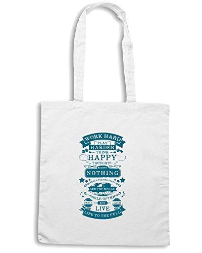 T-Shirtshock - Borsa Shopping CIT0254 work hard play hard think happy Bianco