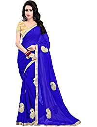 Online Hub Women's Georgette Saree With Blouse Piece (Onlinehubbluepechhavywork1, Blue, Free Size)