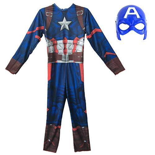 Captain America Iron Man Cos Kostüm Cosplay Kostüm Siamese Strumpfhosen Anime Kostüm Kinder Halloween Kostüm Captain America-10-12 Years Old (Old Captain America Kostüm)