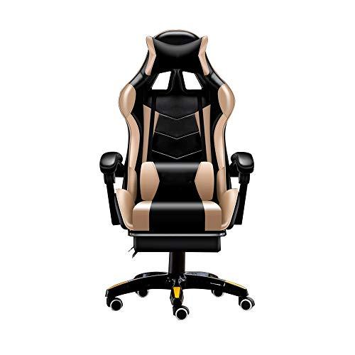 Bseack Drehstuhl Videospiel-Stuhl, stützender Computer-Stuhl, der Rotation Bluetooth anhebt, das Einstellungen mit Fußrest-Ergonomie zusammenbringt, die Stuhl mit Kopflehne und Lordosenstütze läuft (Bluetooth-stuhl)