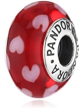 Pandora Damen-Charm 925 Sterling Silber Herz Muranoglas rot 790948
