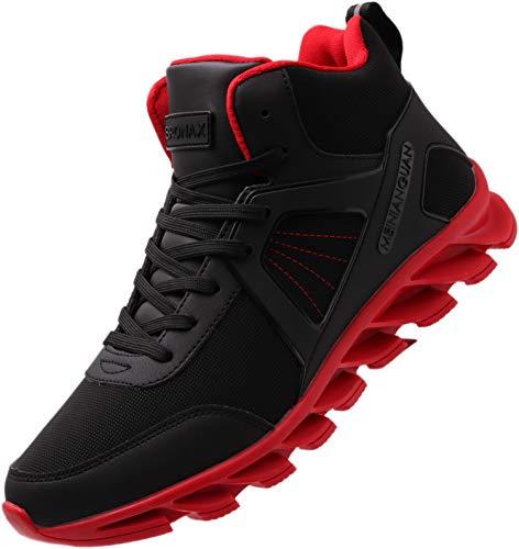 BRONAX Scarpe da Corsa Uomo Scarpa da Ginnastica per Multi Sport Fitness Atletico Jogging all'aperto High Top Sneaker Rosso 41 EU