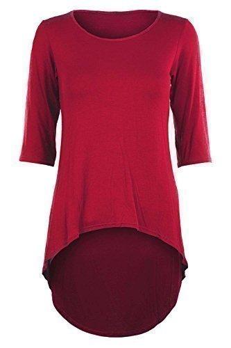 Damen 3/4-Ärmel, hohe Taille, enganliegend, Stretch, Eingetaucht Saum, Minikleid Top Rot - Junge Mode Stilvolle Casual Trikot