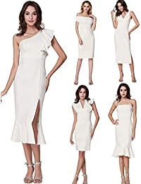 Ever-Pretty Vestito da Sera Midi Elastico Senza Maniche Donna 05967 ef09bc284c9
