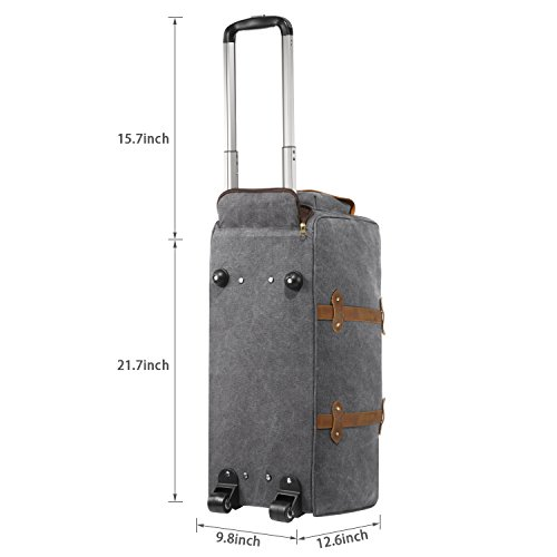 Kattee Trolleytasche mit Rädern Canvas Trolley Reisegepäck Reisetasche 50L (Dunkelgrau) Hellgrau