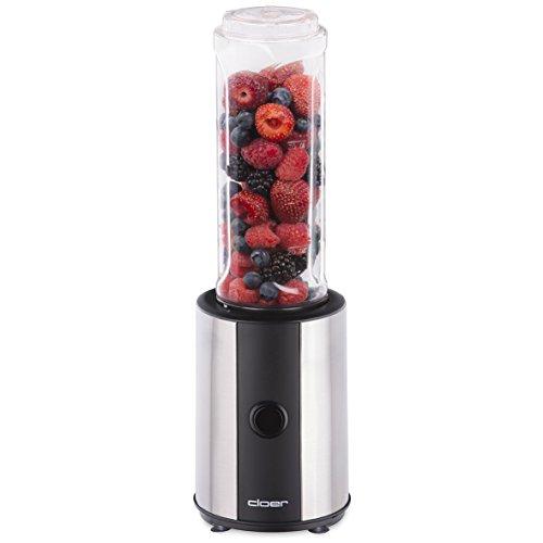 Cloer 6969 Smoothie Maker Edelstahl / 300 Watt / BPA-freie Tritanflasche spülmaschinenfest / 0,6l Inhalt / 2. Mixbehälter bzw. Trinkflasche inklusive / Edelstahlmesser / Mini Mixer