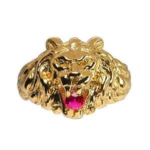 1001 Bijoux - Chevalière lion gros modèle pierre rouge vermeil - tour de doigt 60