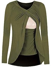Cinnamou Blusas para Mujeres Embarazadas,Patchwork Camisa de Manga Largo Para Mujer Casual Camiseta Mujer Ropa de Mujer EN Oferta…