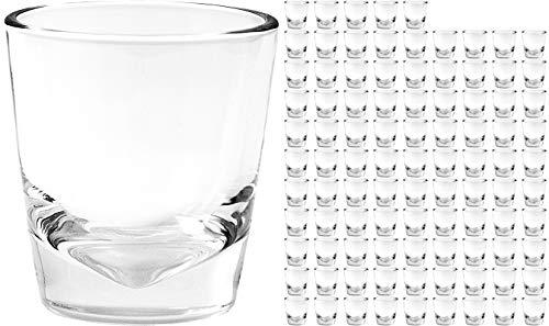 Unbekannt 96 Stück Schnapsgläser [ gut Stapelbar -> platzsparend ] aus Glas 4cl Pinnchen Schnapsglas für Wodka