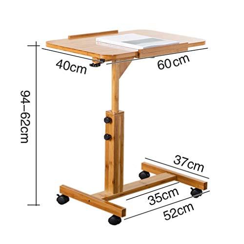 AILEYOU Klapptisch, Faule Tische Auf Und Ab Beweglicher Laptop-Schreibtisch-Bambustisch, Der Kleinen Tisch Mit Rollenrad Faltet