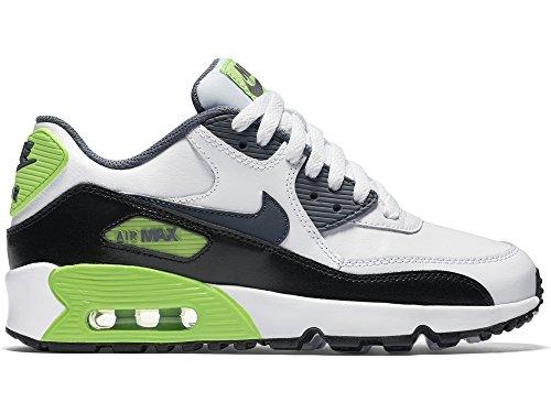 Nike Air Max 90 2007 (Gs) 345017 Mädchen Laufschuhe Weiß / Grau / Grün / Schwarz (White/Cool Grey-Electric Green-Black)