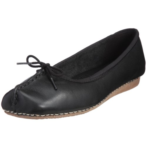 Clarks Freckle Ice, Damen Geschlossene Ballerinas, Schwarz (Black Leather), EU 38, (UK 5)