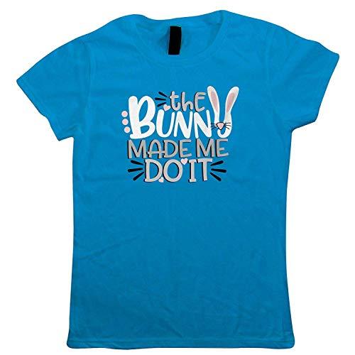 Made Me Do It Damen T-Shirt Osterhase Ei Chick Schokolade Motorhaube Parade Korb Band Trail Hot Kreuz Bun New Life Oster Geschenk Sie Mum - Saphir Blau, X Small (6) ()